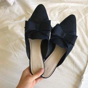 navy pointed toe flats with bow